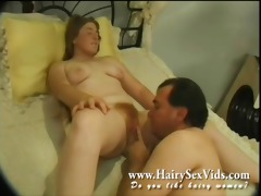 eating out three-some red hirsute vagina