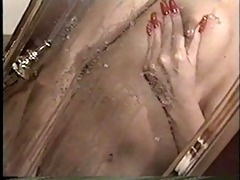 hawt golden-haired jazz lactating on mirror -