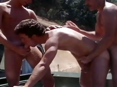 vintage mature lads drilling outdoor