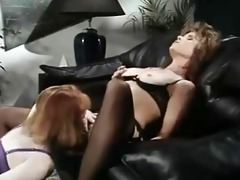 office lesbo babes in retro movie scene scene