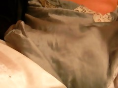 wanking &; shooting in silk slide