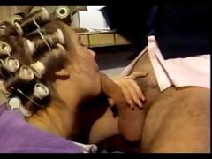 classic muff in curlers acquires hubbys attention