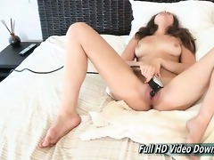 bailey uses the vintage sex-toy on the couch for