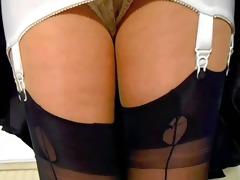 girdle with seamed nylon stockings