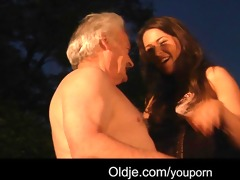 favourable older man copulates with hawt beauties
