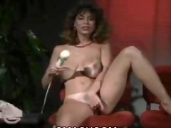 christy canyon masturbates with a large sex tool