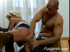 older blond opens her vintage fur pie for a young