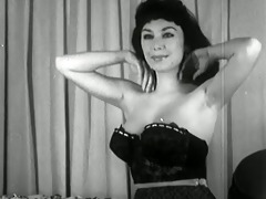 vintage brunette hair hair strip tease - dark and