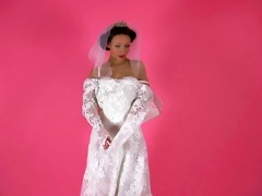 an erotic tease 7689-a black brown bride disrobes